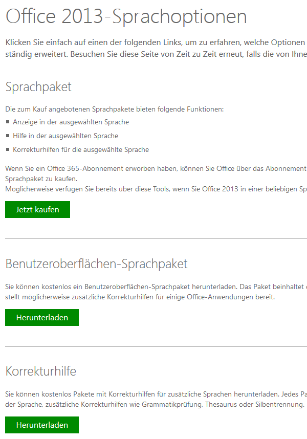 Microsoft Office Sprachoptionen